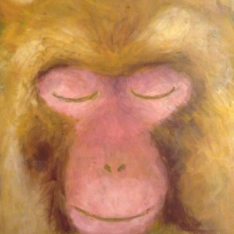 A thoughtful monkey dreams of...