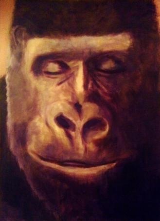 A sleepy gorilla dreams of...