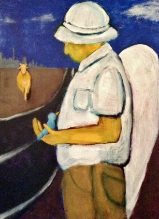 A man with a hat and wings