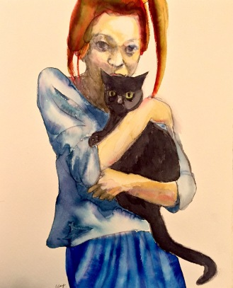 A Young Woman with Her Cat